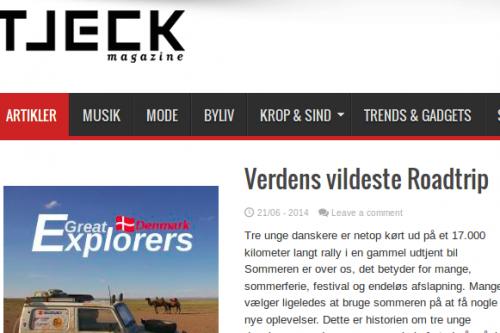 Første artikel i Tjeck Magazine